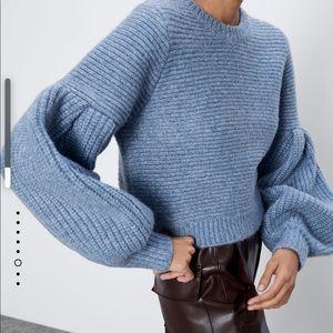 Zara wool blend puff sleeves sweater NWT